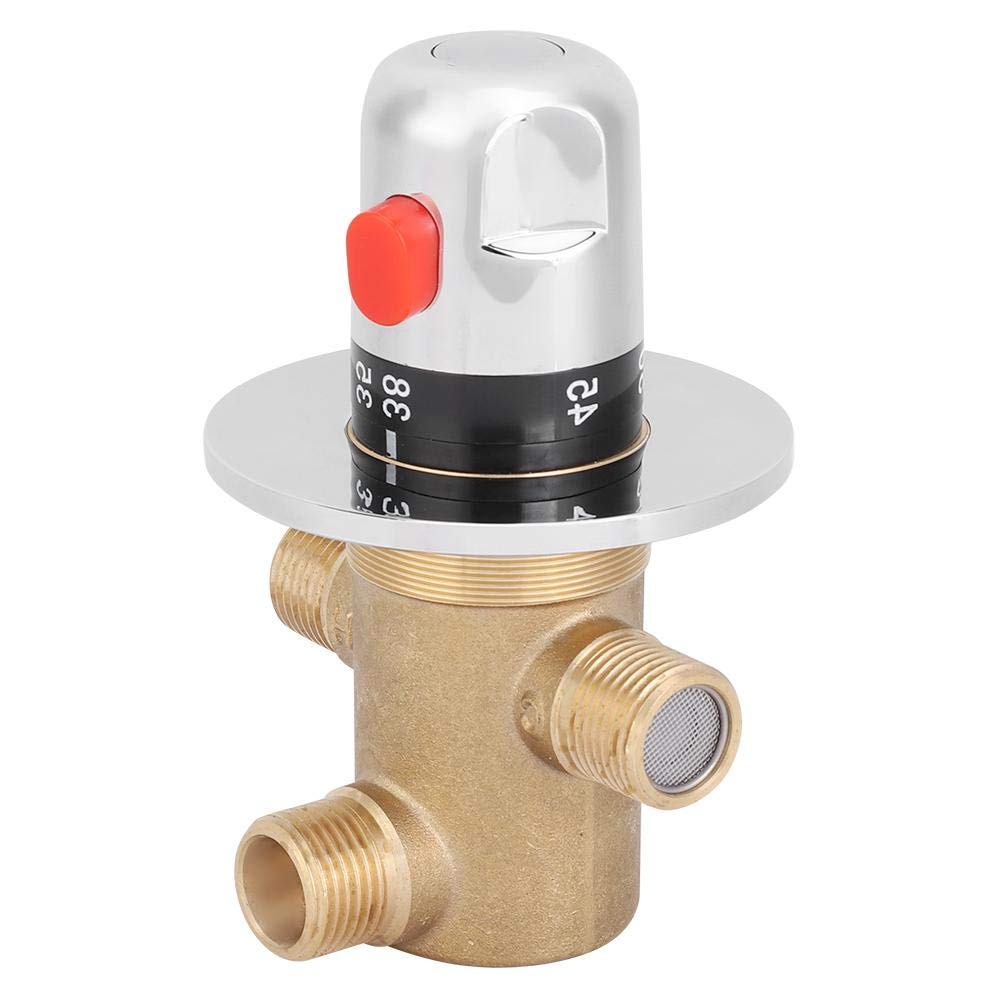 G1//2 3Way Brass Thermostatic Mixing Valve Faucet Temperature Mixer Control Valve
