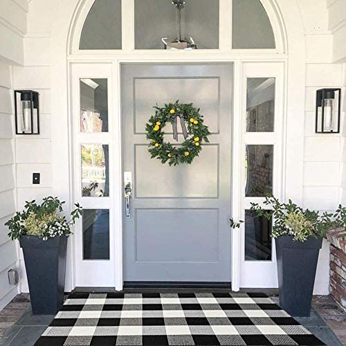 MUBIN Cotton Buffalo Plaid Rug Black White Check Rugs 27.5 x 43 Inches Hand-Woven Indoor or Outdoor Rugs for Layered Door Mats Washable Carpet for Front Porch Kitchen Farmhouse Entryway