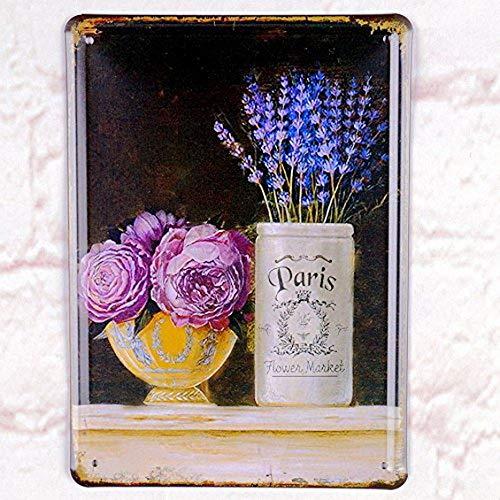 Ugtell Custom Embossed Tin Signs Paris Flower Market Tin Sign Home Pub Bar Wall Decor Retro Metal Art Poster Creative Home -