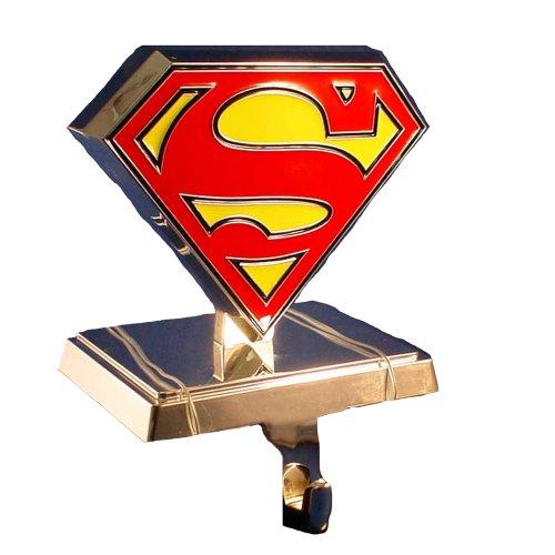 Superman Kurt Adler Logo Stocking Hanger, Silver (Silver Hanger Stocking)