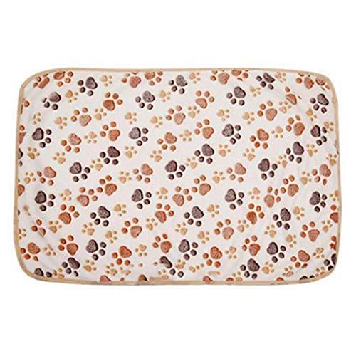 Dog Bed Warm Pet Mat Cat Dog Puppy Paw Bone Printed Soft Fleece Blanket Bed Cushion ()