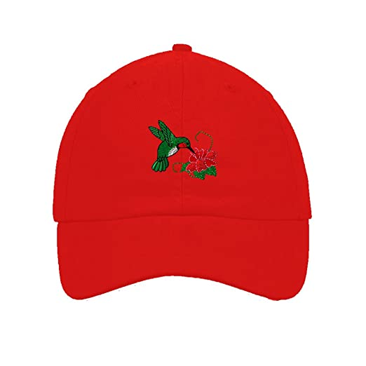69cfca1b17d Image Unavailable. Image not available for. Color  Hummingbird Embroidery  Twill Cotton 6 Panel Low Profile Hat Red