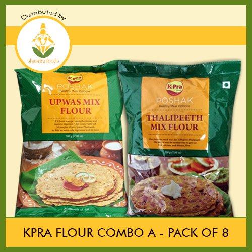 K-Pra - Flour Combo A (Contains 8 Pkts) Thalipeeth-4 & Upvas Bhajani-4 (Mix Flour) Each pkt 200g (T-B)