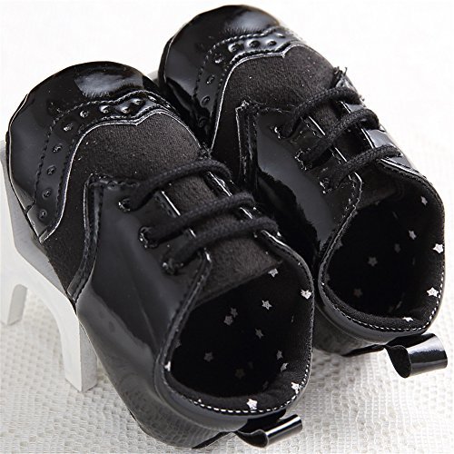 Baby Lace Up Brogue Shoes Medallion Wingtip Patent Leather Crib Dress Shoe Moccasins Black Size L by LINKEY (Image #1)