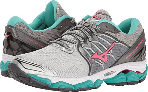 Mizuno Women's Wave Horizon Running Shoe, Silver/Pink, 9.5 B (Mizuno Womens Mizuno Wave)