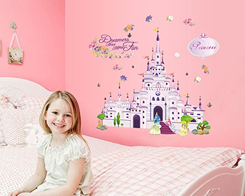 Cartoon Princess Castle Pattern DIY PVC Vinyl Wall Stickers Children's Room Bedroom Living Room Decor Mural adesivo de parede Home Decoration (style (Princess Castle Wall)