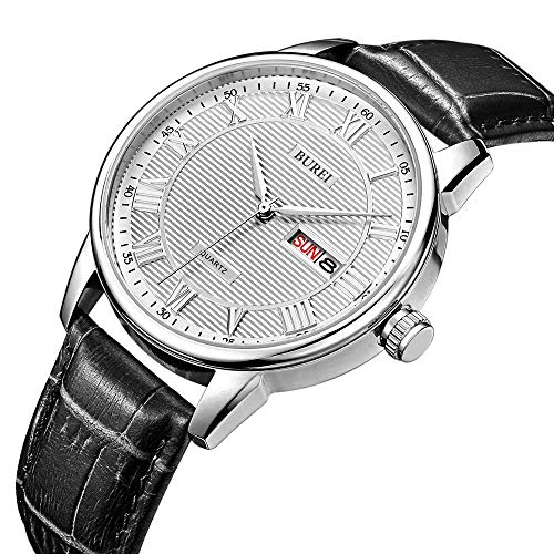 BUREI Men's Classic Quartz Wristwatch with Day Date Calendar Big Roman Numerals White Texture Dial Design and Black Leather ()