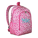Personalized Hot Pink Greek Key Backpack - Girls Canvas Booksack Full Size School Backpack