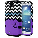Galaxy S4 Case, MagicMobile® Hybrid Impact Shockproof Protective Case for Samsung Galaxy S4 Cover Hard Armor Shell and Soft Silicone Skin Layer [Chevron Pattern with Heart Anchor Design / Black - Purple ]