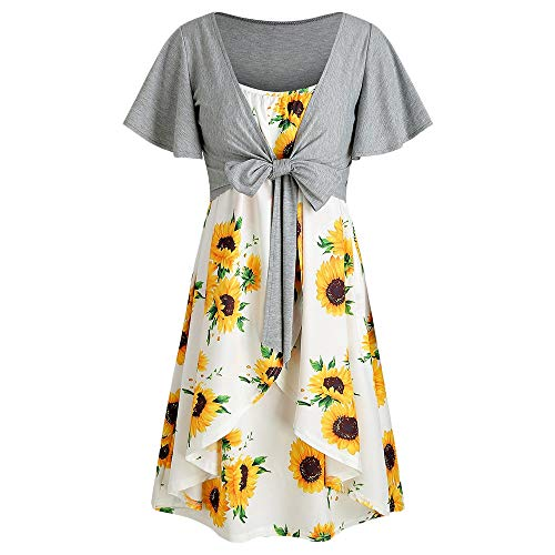 - KCatsy Knotted Top and Sunflower Overlap Dress Set White