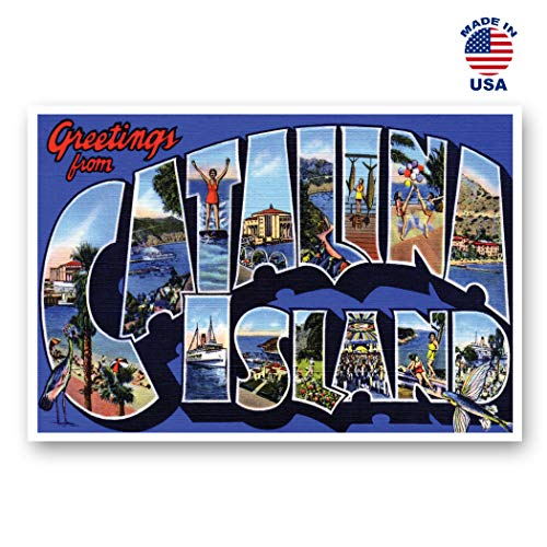 GREETINGS FROM CATALINA ISLAND, CA vintage reprint postcard set of 20 identical postcards. Large Letter Catalina Island, California name post card pack (ca. 1930's-1940's). Made in USA. (Postcard Island)