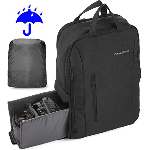 Victoriatourist DSLR Camera Backpack with Waterproof Rain Cover Fits 16 Inch Laptops, Black by Victoriatourist