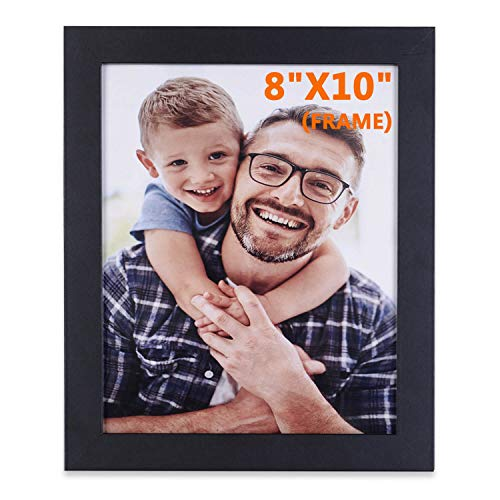 Jiabee 8x10 Wooden Picture Frame Stand & Hanging Couples Sets-1 Collage for Family, 1-Pack Wood Acrylic Photos Frames for Wall & Tabletop Black ()