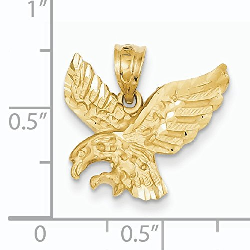 Satin 14 carats Taille diamant Pendentif aigle-Dimensions :  18,1 x 18,2-JewelryWeb mm