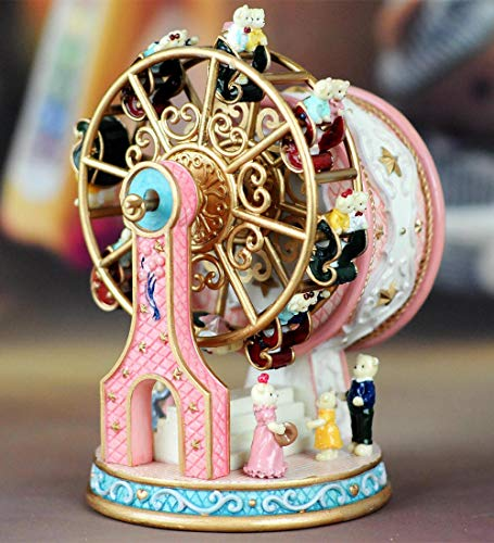 - ASNOMY Personalized Rotating Ferris Wheel Music Box for Girls or Boys' Birthday, Music Box Melody Canon(Canon, Pink)