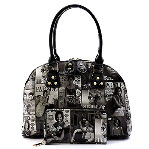 Glossy Magazine Cover Collage 2-in-1 Dome Satchel & Wallet Set Michelle Obama Handbag (Black/White-2) by Elphis
