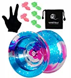 MAGICYOYO Professional Unresponsive Yoyo Y01 Node, Long Spinning Time Prettiest Yoyo with Glove, Yoyo Bag and 5 Replacement Yoyo Strings (Blue+Pink+Silver)