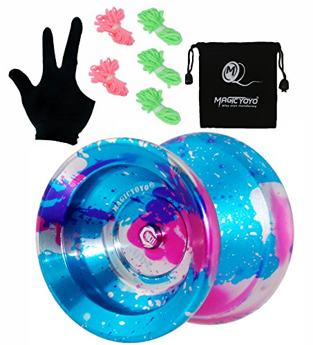 (MAGICYOYO Professional Unresponsive Yoyo Y01 Node, Long Spinning Time Prettiest Yoyo with Glove, Yoyo Bag and 5 Replacement Yoyo Strings (Blue+Pink+Silver))
