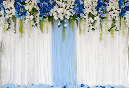 Baocicco Polyester 7x5ft Blue White Flowers Leaves Hangings Backdrop Floral Decor Photography Background Blue White Curtain Wedding Ceremony Valentine