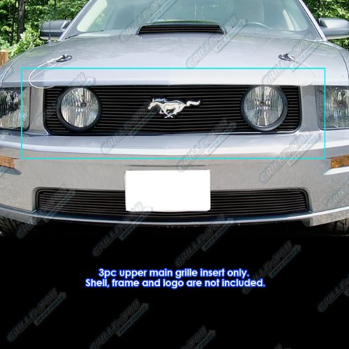 2009 Mustang Billet - APS Compatible with 2005-2009 Ford Mustang GT V8 Model with Logo Show Black Billet Grille S18-H32066F