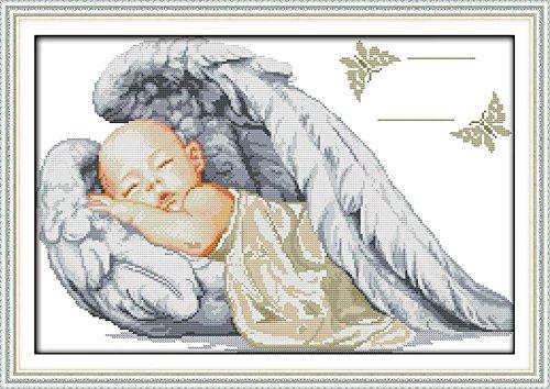 Cross Stitch Kits - Counted Cross Stitch Kit, Cross-Stitching Patterns a Sleepy Little Angel 14CT White Fabric - DIY Art Crafts & Sewing Needlepoints Kit for Home Decor 19''x13' (Angel Cross Stitch Pattern)
