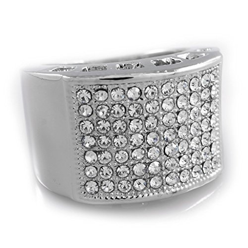Nivs Bling – Men's Silver Cubic Zirconia Ring – AAA CZ Crystal Micropave Band for Men