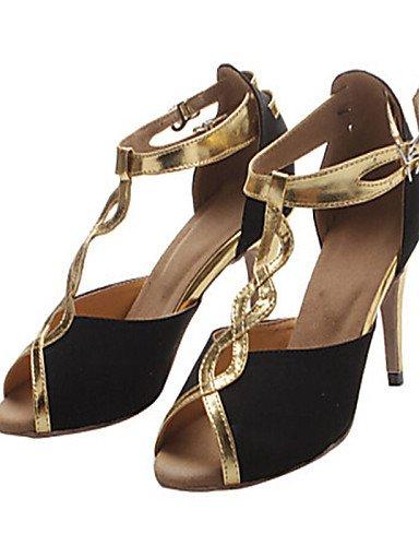 La mode moderne Sandales femmes personnalisables Chaussures de danse latin / Jazz / Swing / chaussures / Salsa Samba personnalisés flocage noir Talon,or,US8 / EU39 / UK6 / CN39