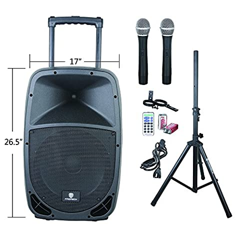 PRORECK FREEDOM 15 Portable 15-Inch 800 Watt 2-Way Rechargeable Powered Dj/PA Speaker System with Bluetooth/USB/SD Card Reader/ FM Radio/Remote (15 Inch Party Speakers)