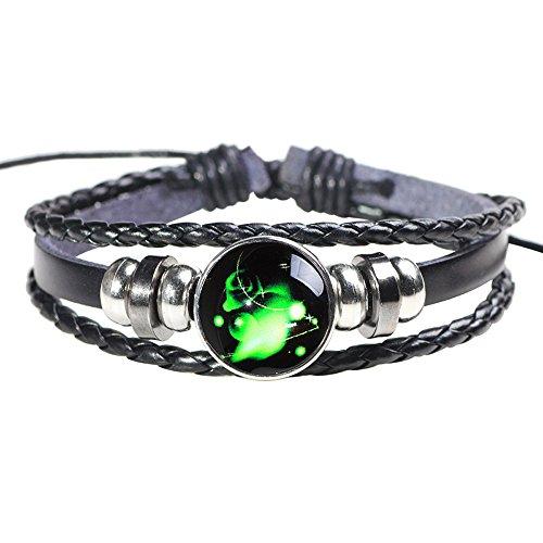 H.ZBRUJ Constellation Leather Bracelet Adjustable Punk Bracelet Braided Rope Wristbands for Men Women