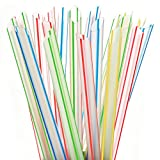 "ALINK Extra Wide Fat Boba Straws, 1/2"" Jumbo Plastic Striped Smoothie Straws for Bubble Tea and Milkshake, Pack of 100"