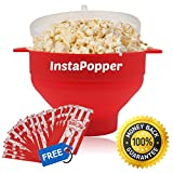 Popcorn Popper with Hot Air Collapsible Microwave Bowl in Red with Handles with Theatre Style Bags Included by Zelquin