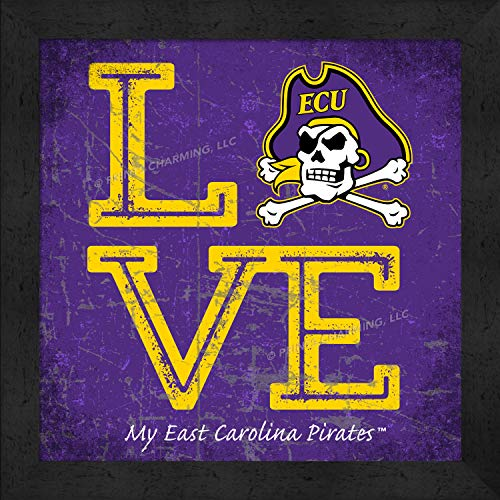 Prints Charming College Love My Team Logo Square Color East Carolina Pirates Framed Posters 13x13 Inches (Carolina East Logo Square)