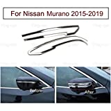 2x Car Chrome Rearview Side Mirror Cover Trim Strip Fit For Nissan Murano 2015 2016 2017 2018 2019 UP