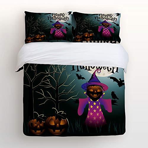 LEO BON Duvet Cover Set Full Size Halloween Theme Illustrations Floral Duvet Cover and Pillow Shams Bed Set ()