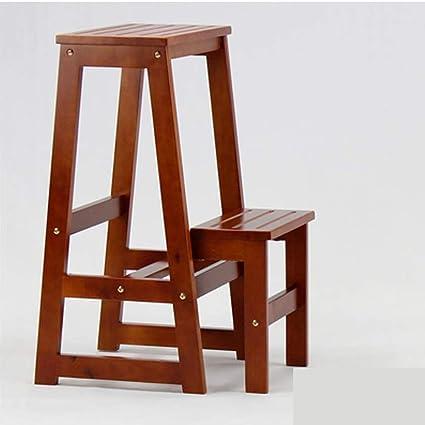 Escalera de mano Taburete plegable Escalera plegable de madera maciza for el hogar Espesamiento de taburete