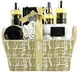 BRUBAKER Cosmetics 'Vanilla Golden Paradise' 13-Pieces Bath Gift Set in Trug Crate - Vanilla Roses Mint Fragrance