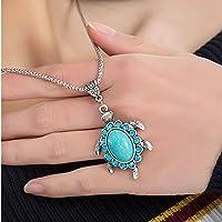 Women Boho Turquoise Rhinestone Turtle Pendant Vintage Chain Necklace Beauty By jindarat