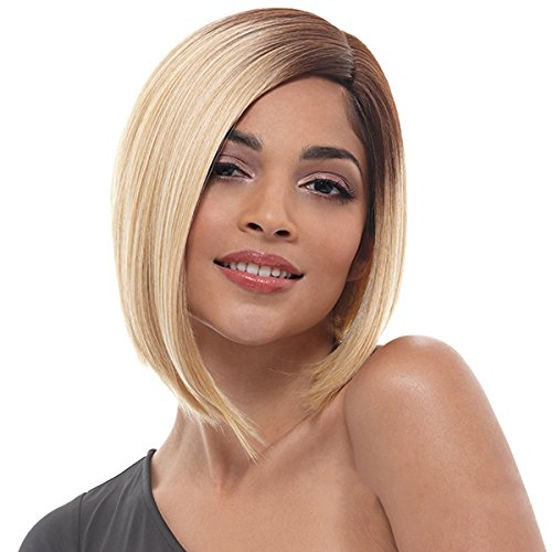 SiYi Short Bob Wig Blonde Brown Root Ombre Straight Synthetic Wigs Heat Resistant Full Costume Wig for (Corn Roll Hairstyle)
