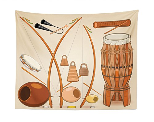 "Lunarable Music Tapestry, Brazilian Capoeira Instruments Djembe Bongo Percussion Rhythm Tribal Culture, Fabric Wall Hanging Decor for Bedroom Living Room Dorm, 28"" X 23"", Multicolor"