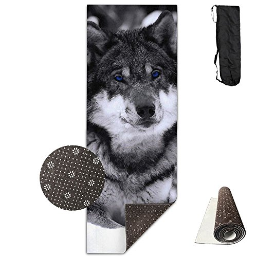 Jessent Yoga Mat Non Slip Fantasy Wolf Printed 24 X 71 Inches Premium For Fitness Exercise Pilates With Carrying -