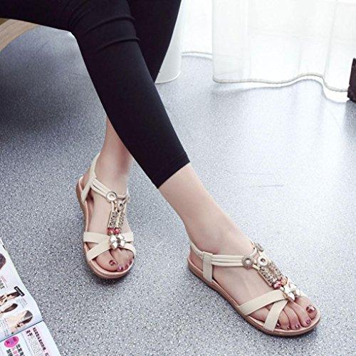 f132bfd4625164 Beige pour femme confort la plates mode tout Transer® Chaussures plates  romaines Sandales estivale à Sandales 4RE1Ufxq6w