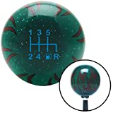 American Shifter 300783 Shift Knob (Blue 6 Speed Shift Pattern - Gas 41 Green Flame Metal Flake with M16 x 1.5 Insert)