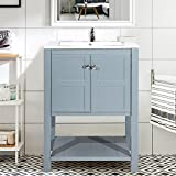 Harper&Bright Designs Bathroom Vanity with Ceramic Sink Top 24'' Single Sink (Grey without mirror)