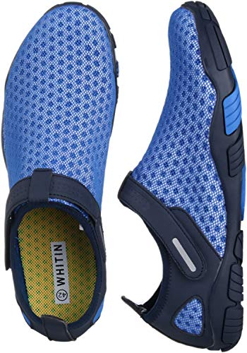 WHITIN Men's Quick Drying Water Shoes for Aqua Hiking Trail Running Sport Minimalist Barefoot Wave Walking Beach Swim Surf Outdoor Kayaking Athletic Male Blue Size 9.5