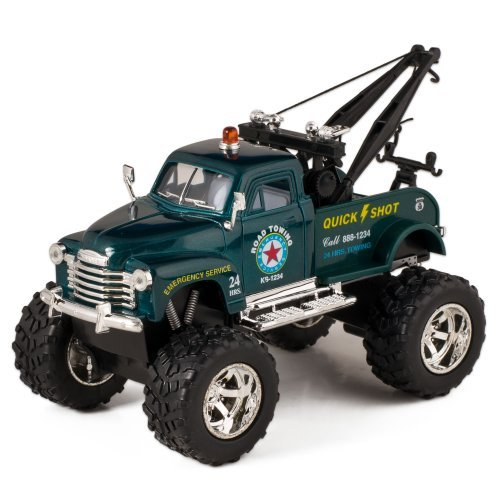 Green 1953 Chevy Off-Road Wrecker Die Cast Tow Truck Toy with Monster Wheels