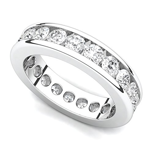 - Platinum Channel set Diamond Eternity Band Ring (G-H/VS, 2 ct.), 5.5