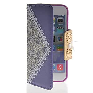 EVERGREENBUYING Fashion Bow Leather Side Flip Wallet Card Pouch Stand Soft Shell Back Case Cover for Apple iPhone 6 ( 4.7 inch ) Purple