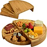 Picnic at Ascot Personalized Monogrammed Bamboo Cheese/Charcuterie Board with Cheese Tools - Designed & Quality Checked in USA - Letter M