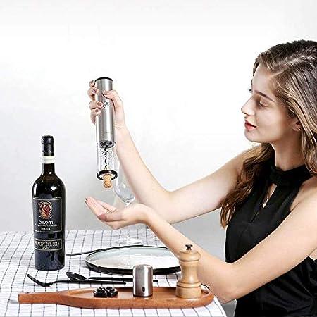 Adesign Conjunto de Abrigos de Vino eléctrico, Abertura de Botella de Vino automático de sacacorchos de Acero Inoxidable para el hogar, Restaurante, Fiesta, como Regalo, Plata refinada