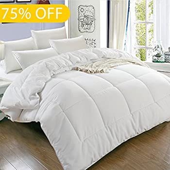 Balichun Luxury Hotel Collection 1800 Series - Down Alternative Comforter Hypoallergenic Quilted Duvet Insert With Corner Tabs - All Season - Queen(88 by 88 inches) - White
